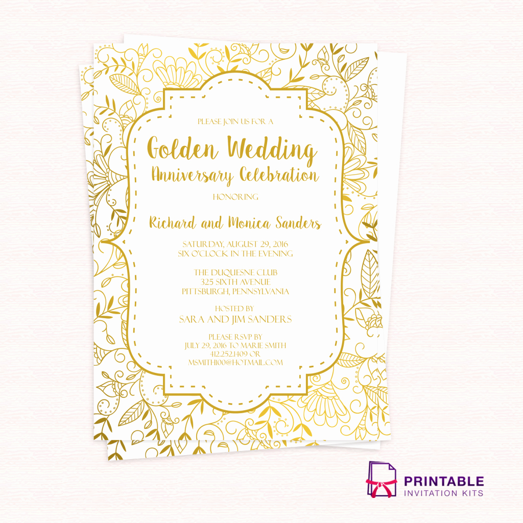 50th Wedding Anniversary Invitation Template Elegant Free Pdf Template Golden Wedding Anniversary Invitation