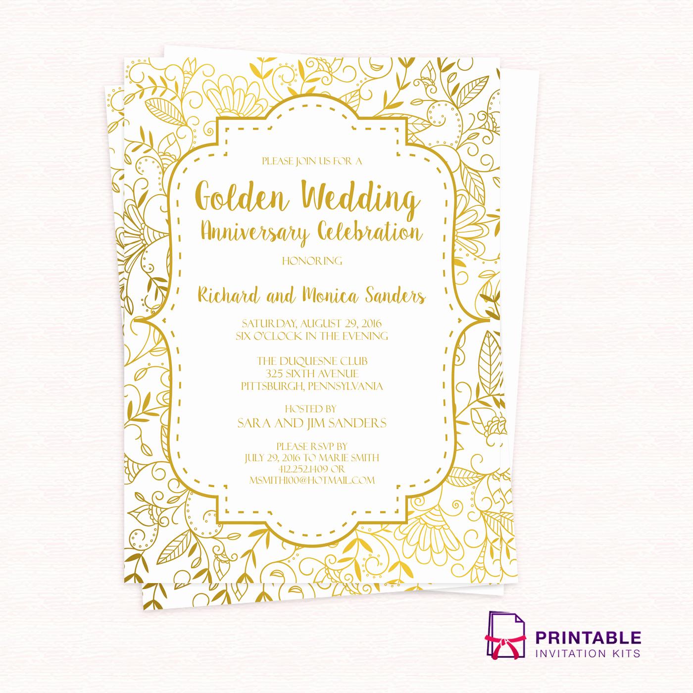 50th Wedding Anniversary Invitation Template Elegant Golden Wedding Anniversary Invitation Template