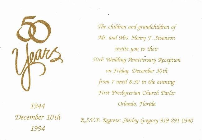 50th Wedding Anniversary Invitation Template Fresh Homemade 50th Anniversary Invitations