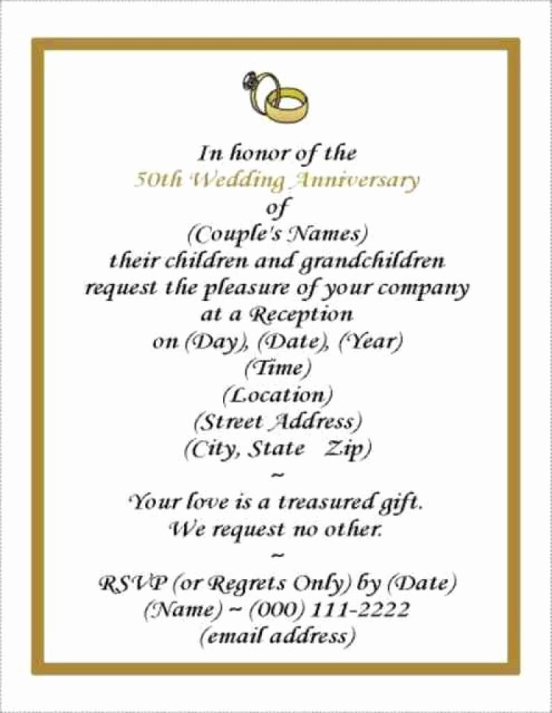 50th Wedding Anniversary Invitation Template Inspirational Free Wedding Anniversary Invitation Template