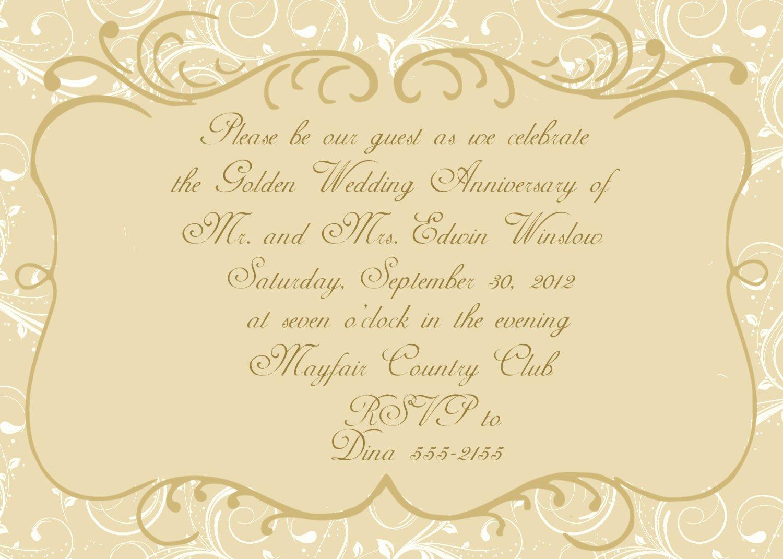 50th Wedding Anniversary Invitation Template Lovely 50th Anniversary Invitation Templates