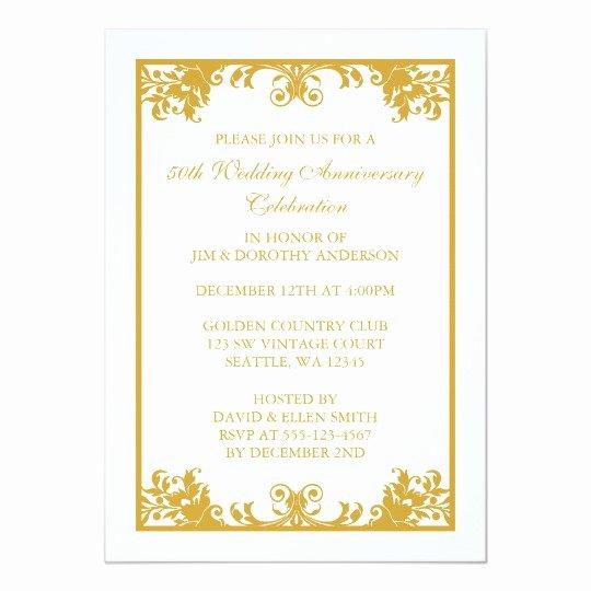 50th Wedding Anniversary Invitation Template Lovely 50th Wedding Anniversary Gold Flourish Scroll Card