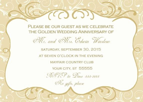 50th Wedding Anniversary Invitation Template Lovely 50th Wedding Anniversary Invitation