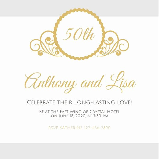 50th Wedding Anniversary Invitation Template Lovely Customize 1 796 50th Anniversary Invitation Templates