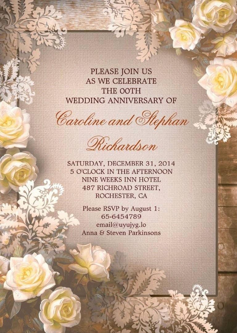 50th Wedding Anniversary Invitation Template Lovely Victorian Roses Vintage Anniversary Invitations