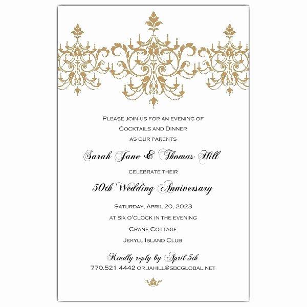 50th Wedding Anniversary Invitation Template Lovely Victorian Scroll Flourish Gold 50th Anniversary