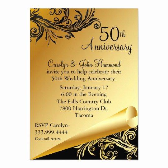 50th Wedding Anniversary Invitation Template New Black & Gold 50th Wedding Anniversary Invitation