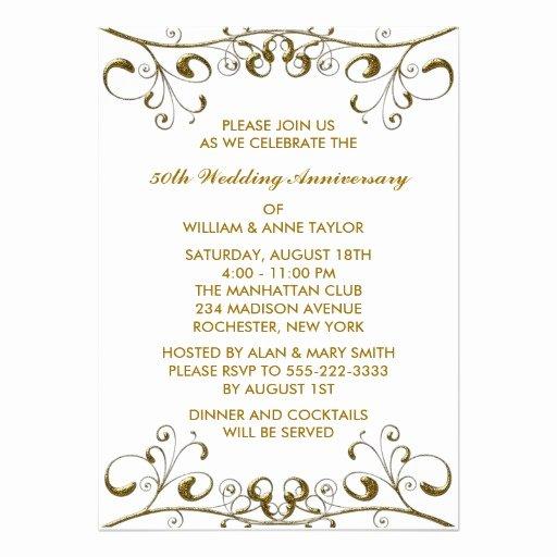 "50th Wedding Anniversary Invitation Template New Gold Swirls 50th Wedding Anniversary Invitations 5"" X 7"
