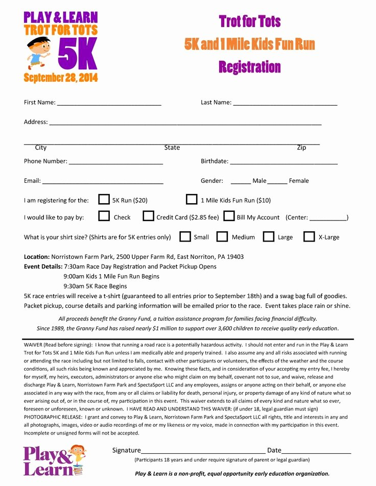 5k Registration form Template Awesome 12 Best Play & Learns Trot for tots 5k and Kids Fun Run