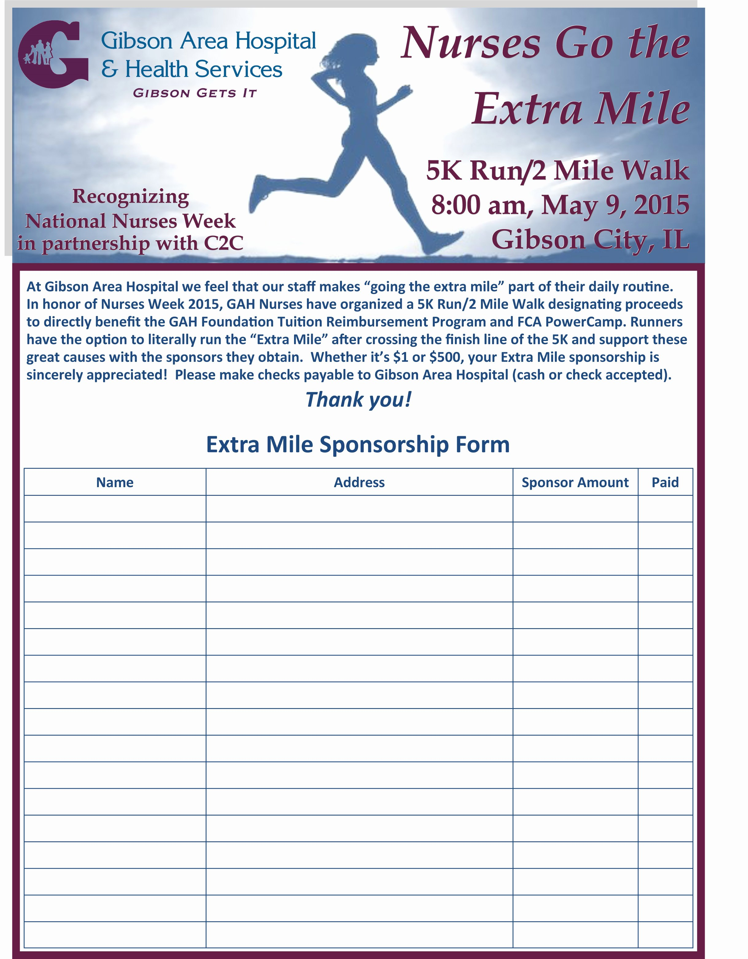 5k Registration form Template Best Of Gibson area Hospital