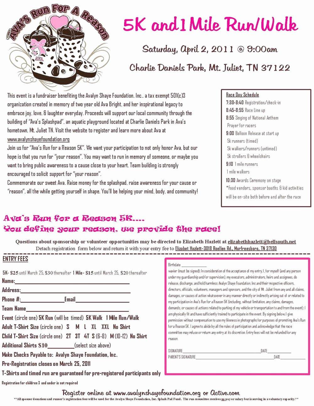 5k Registration form Template Fresh 5k Registration form Word forms 6147