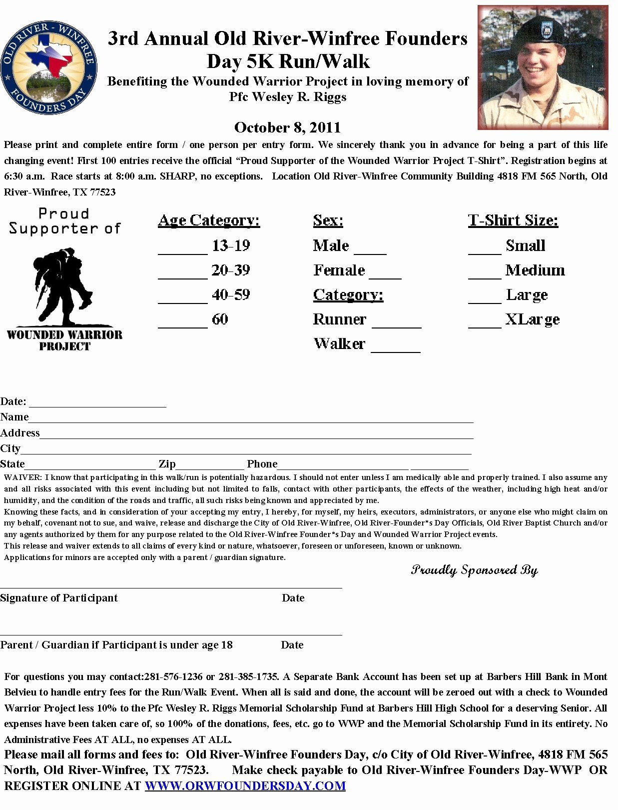 5k Registration form Template Inspirational Barbers Hill Scholarship Fund