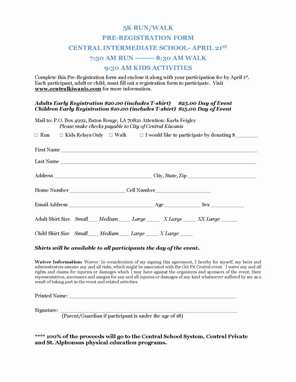 5k Registration form Template Inspirational Registration form Template for 5k Pdf