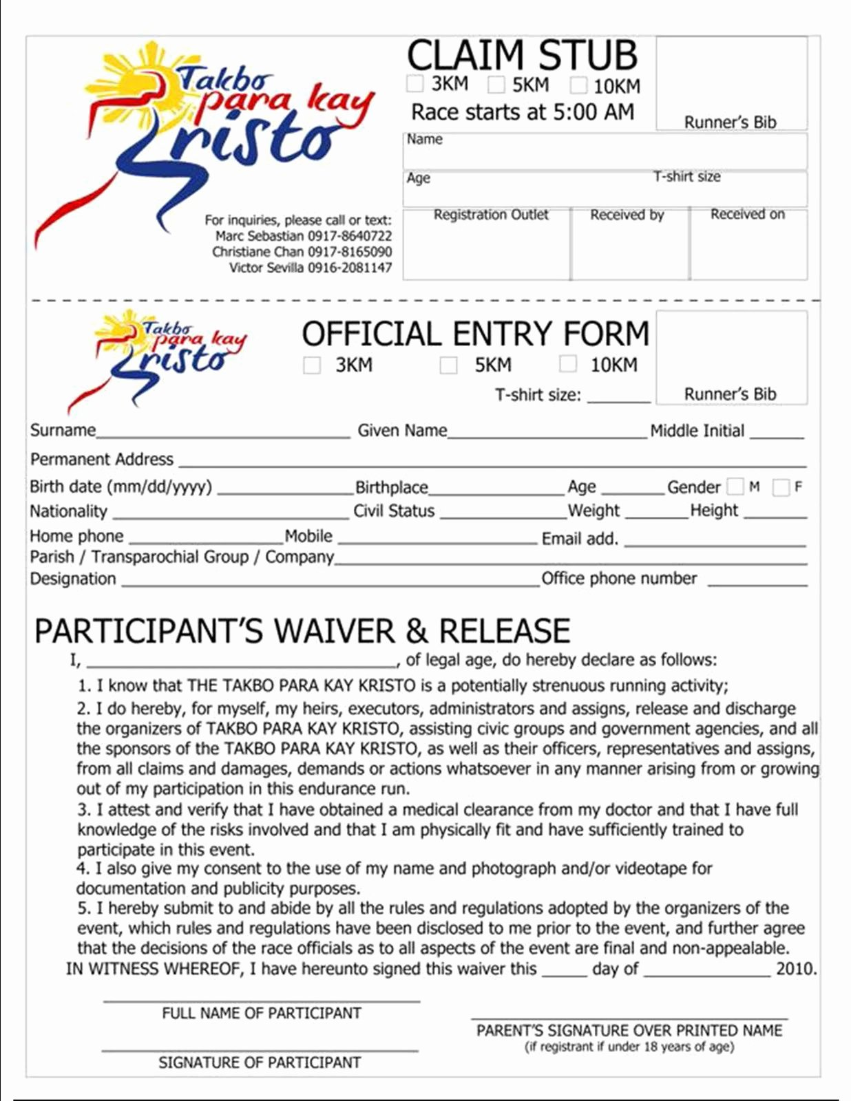 5k Registration form Template Luxury Jet Paiso April 2010