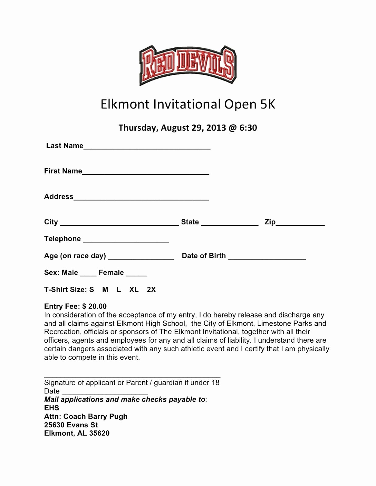 5k Registration form Template New Elkmont Alabama Elkmont Open 5k Run Runners Unite