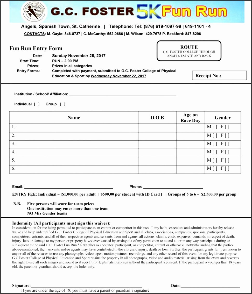 5k Registration form Template Unique 8 Sports Camp Registration form Template