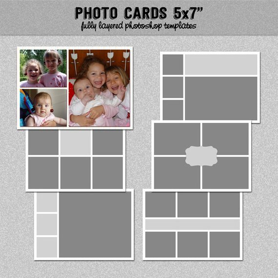 5x7 Postcard Template Photoshop Awesome 6 Card Templates 5x7 Set 3 Instagram Collage