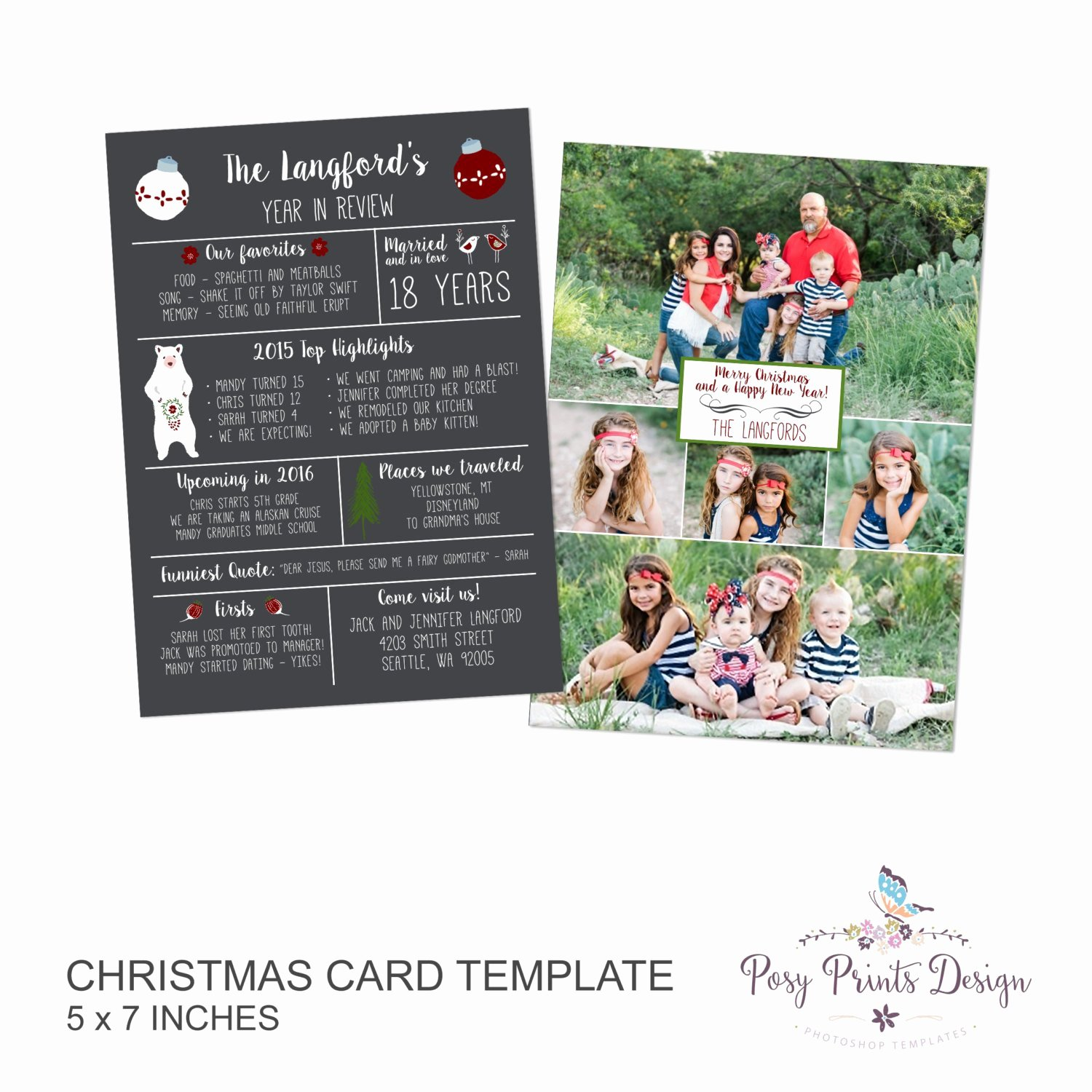 5x7 Postcard Template Photoshop Awesome Year In Review Christmas Card Template 5x7 Card