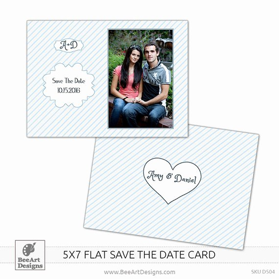 5x7 Postcard Template Photoshop Best Of Instant Download 5x7 Save the Date Flat Card by Beeartdesigns