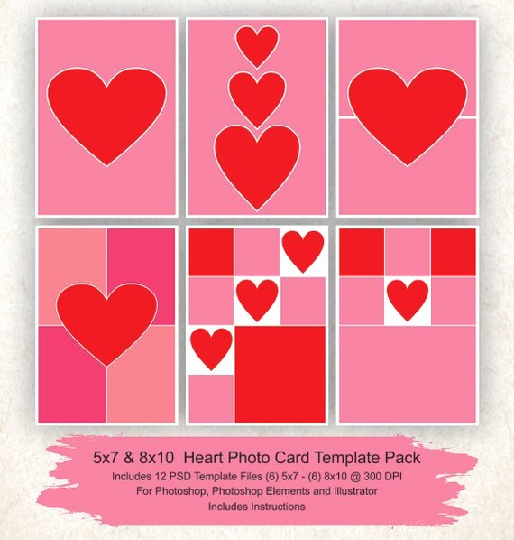 5x7 Postcard Template Photoshop Elegant 5x7 and 8x10 Collage Template 12 Pack Hearts Card