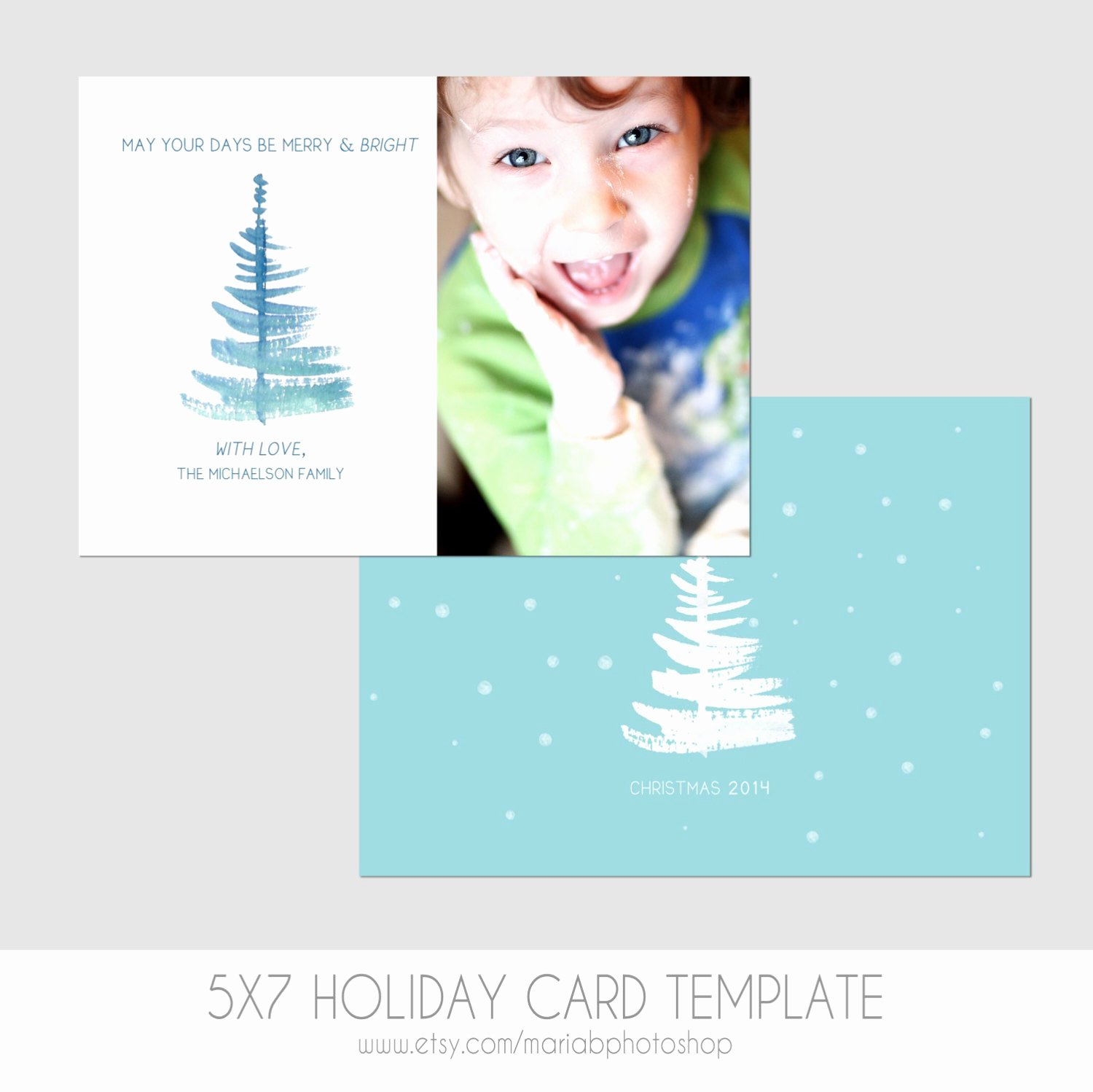 5x7 Postcard Template Photoshop Elegant 5x7 Christmas Card Template Front and Back by Mariabpaints