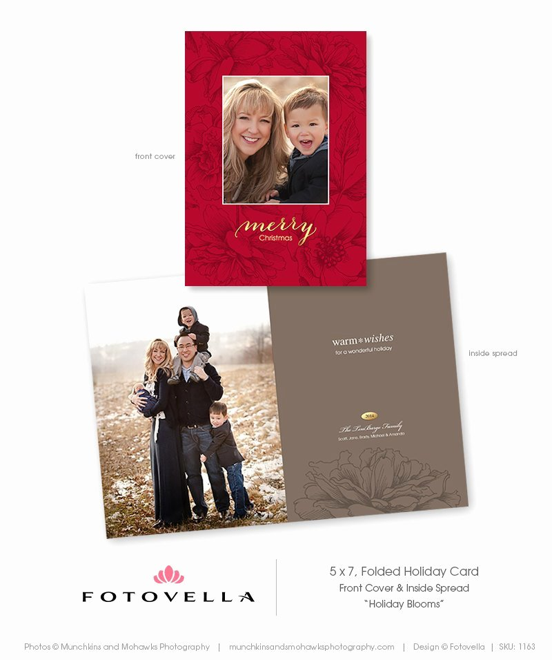 5x7 Postcard Template Photoshop Elegant Christmas Card Template Vertical Folded 5x7 by Fotovella