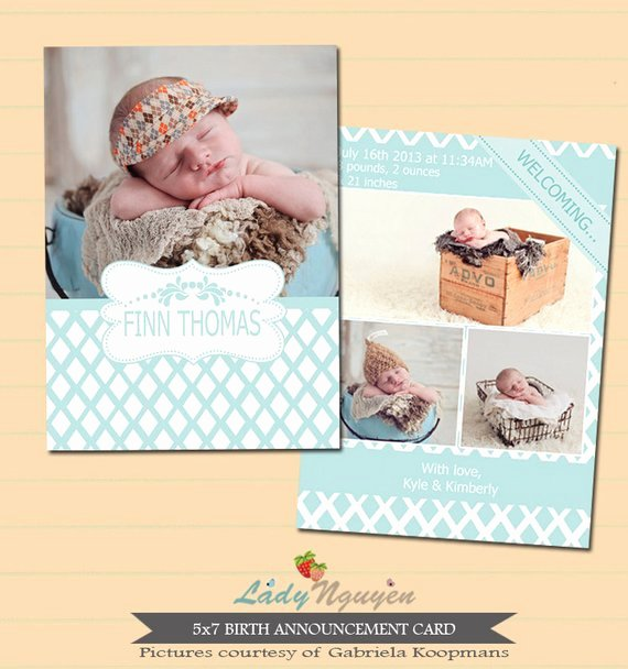 5x7 Postcard Template Photoshop Elegant Instant Download 5x7 Birth Announcement Template Ca187