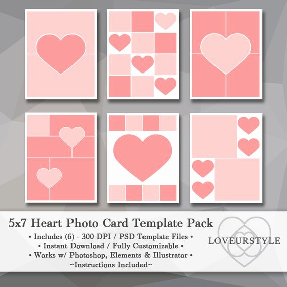 5x7 Postcard Template Photoshop Fresh 5x7 Template Pack Heart Templates Collage Card