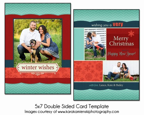 5x7 Postcard Template Photoshop Fresh Christmas Card Template Winter Collage 5x7 Double Sided