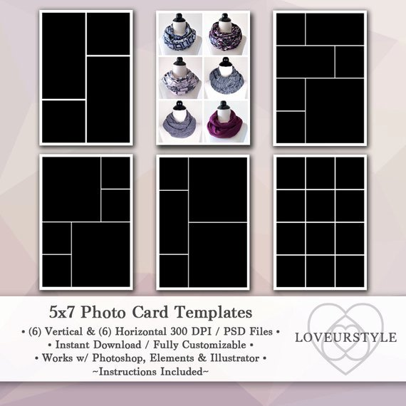 5x7 Postcard Template Photoshop New 5x7 Template Pack 12 Templates Collage