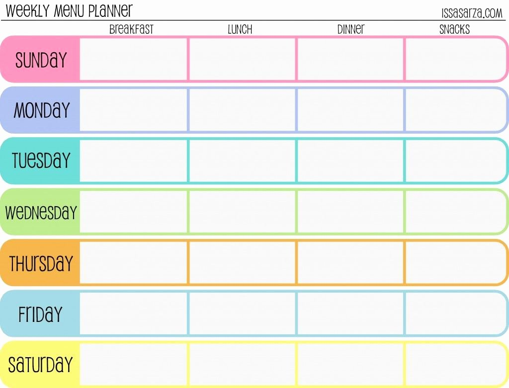 7 Day Schedule Template Elegant Free Printable Menu Planners Fill In Day Of the Week