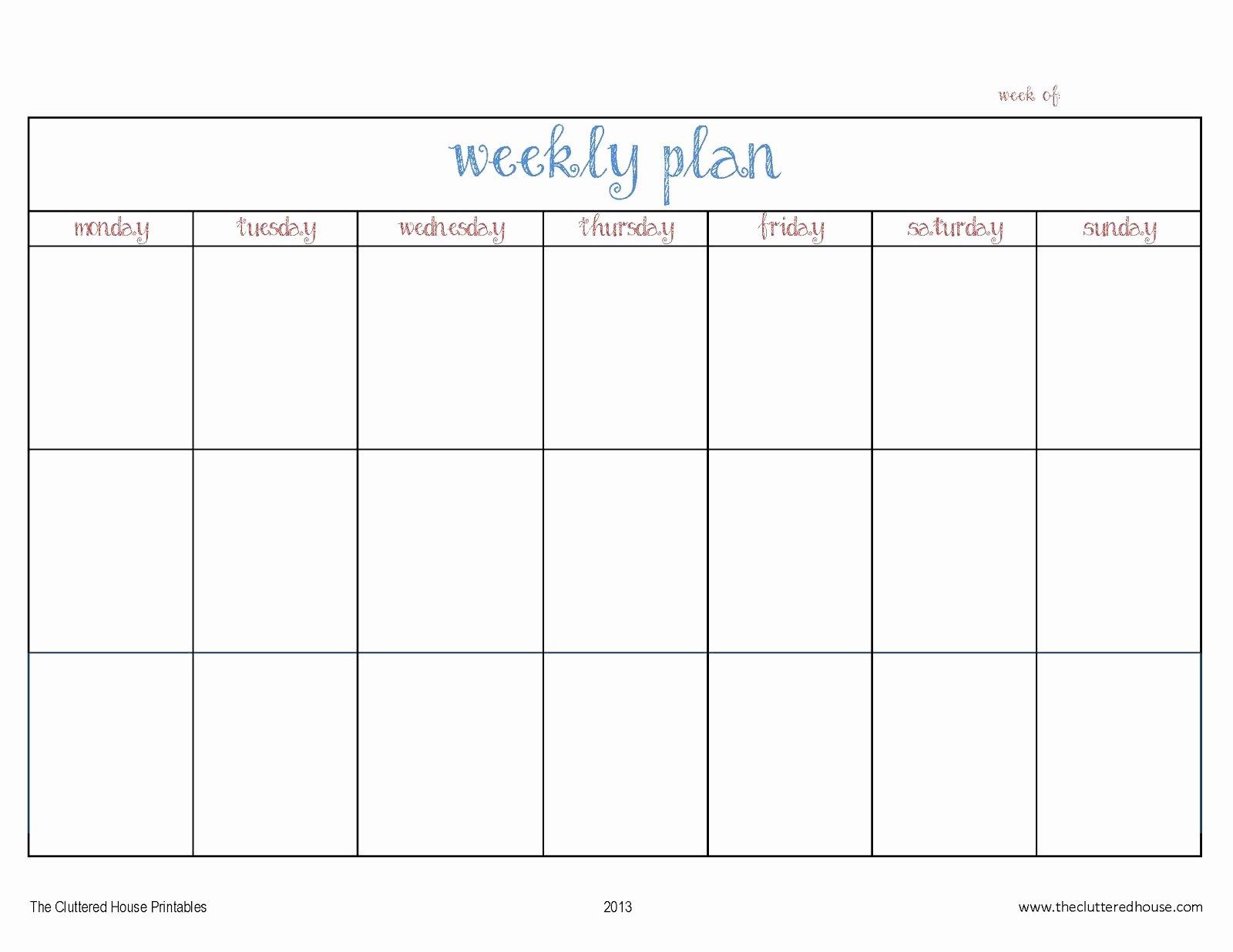 7 Day Schedule Template Elegant New Free Printable Weekly Calendars