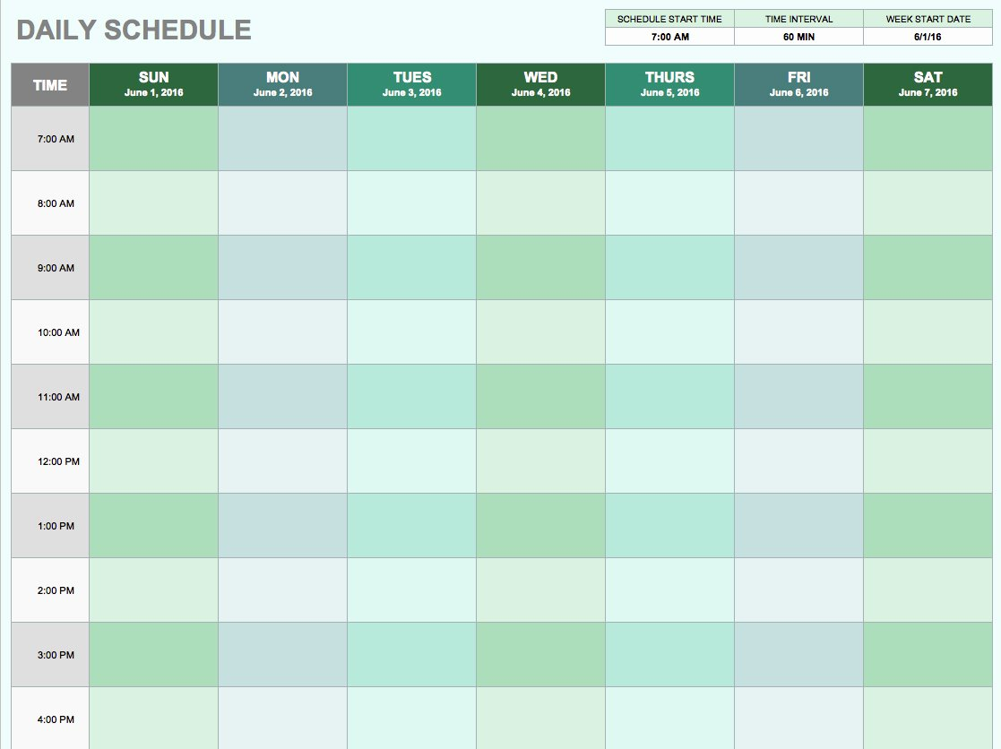 7 Day Schedule Template Inspirational Free Daily Schedule Templates for Excel Smartsheet