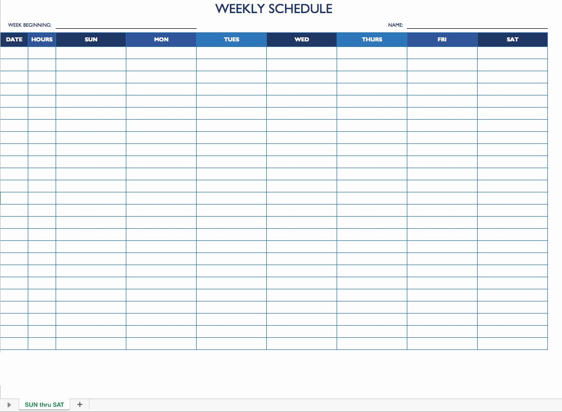 7 Day Schedule Template Luxury Free Work Schedule Templates for Word and Excel