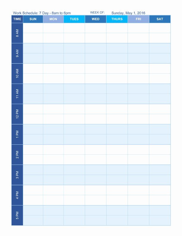 7 Day Schedule Template New Free Work Schedule Templates for Word and Excel