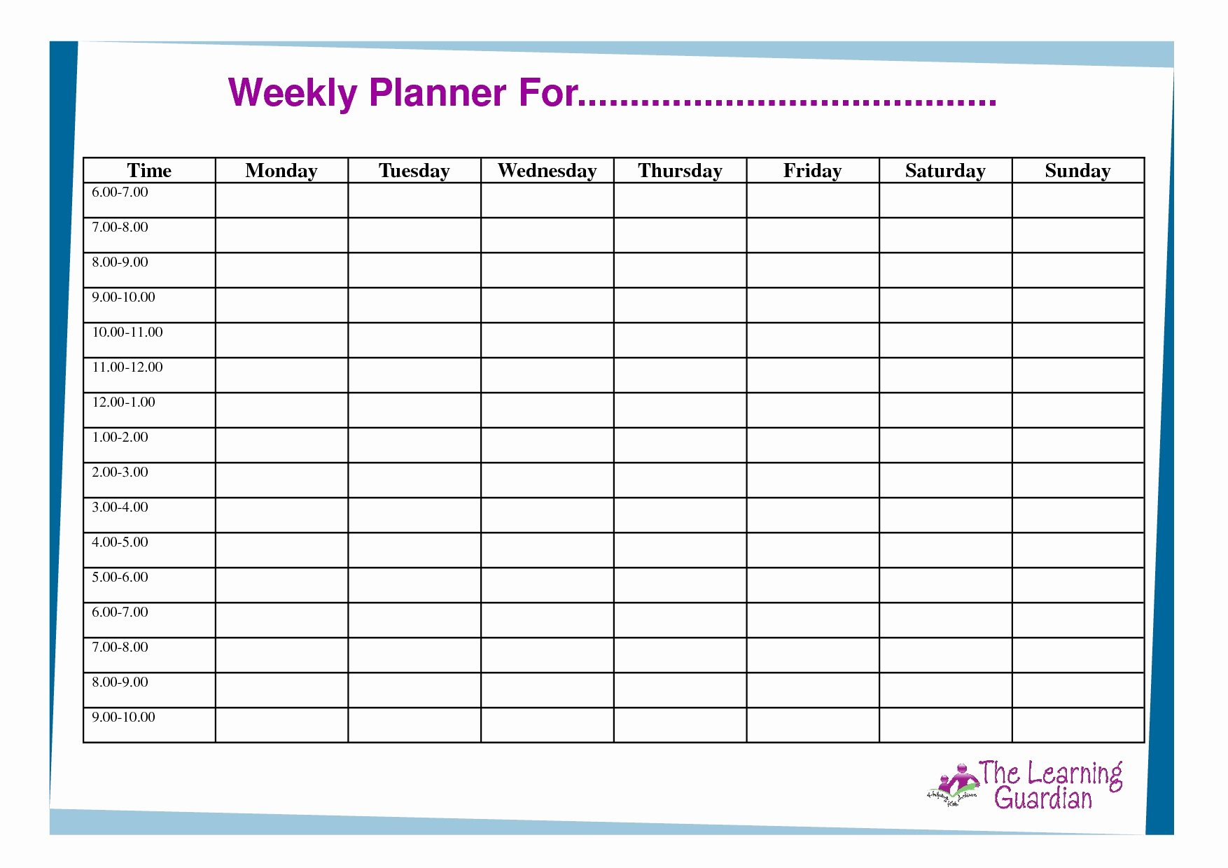 7 Day Schedule Template Unique 7 Day Weekly Planner Template Printable – Template