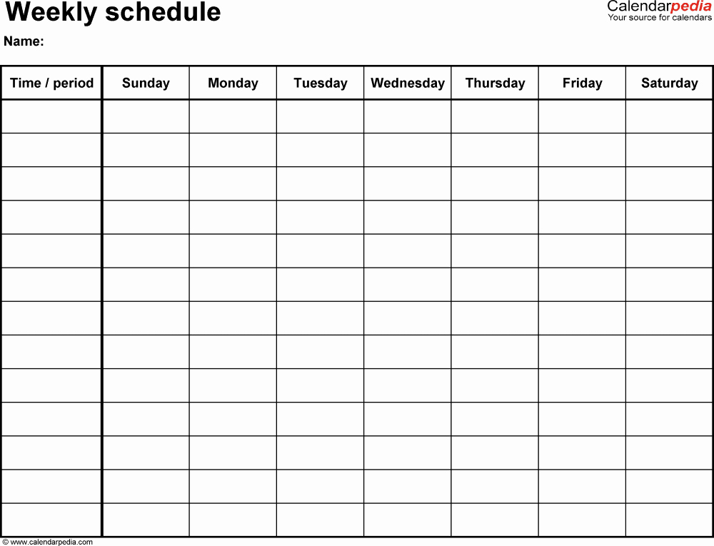 7 Day Schedule Template Unique Weekly Schedule Template for Word Version 14 Landscape 1