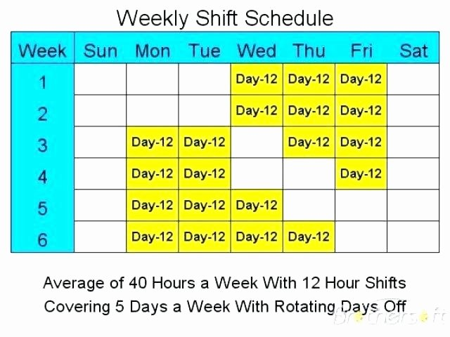 7 Day Work Schedule Template Awesome Rotating Shift Schedule Template Printable Calendar