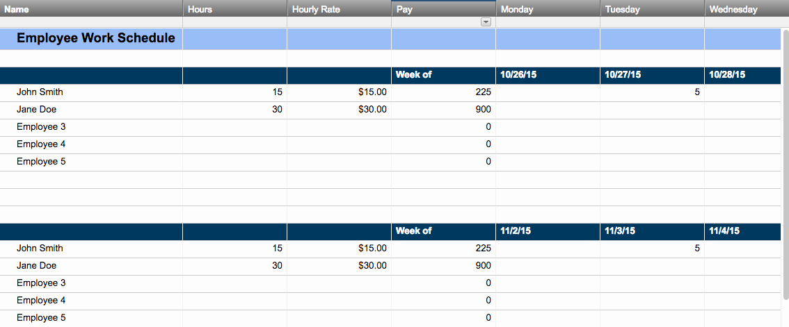 7 Day Work Schedule Template Best Of Free Work Schedule Templates for Word and Excel