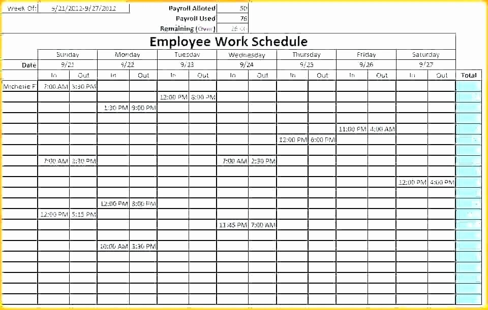 7 Day Work Schedule Template Elegant Employee Work Schedule Template Blank Weekly Monthly Excel