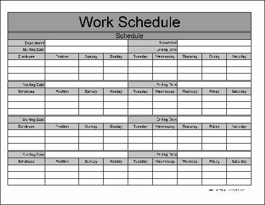 7 Day Work Schedule Template Fresh Blank 7 Days Work Schedule Template