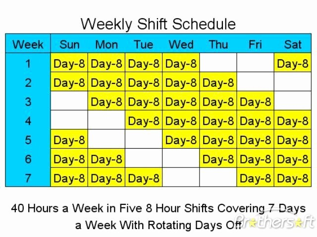 7 Day Work Schedule Template Fresh Download Free 8 Hour Shift Schedules for 7 Days A Week 8