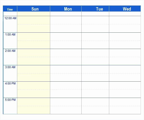 7 Day Work Schedule Template Inspirational 7 Day Work Week Schedule Template Scheduling 24 Hour Excel