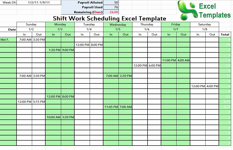 7 Day Work Schedule Template Inspirational Shift Schedule Template Word Excel