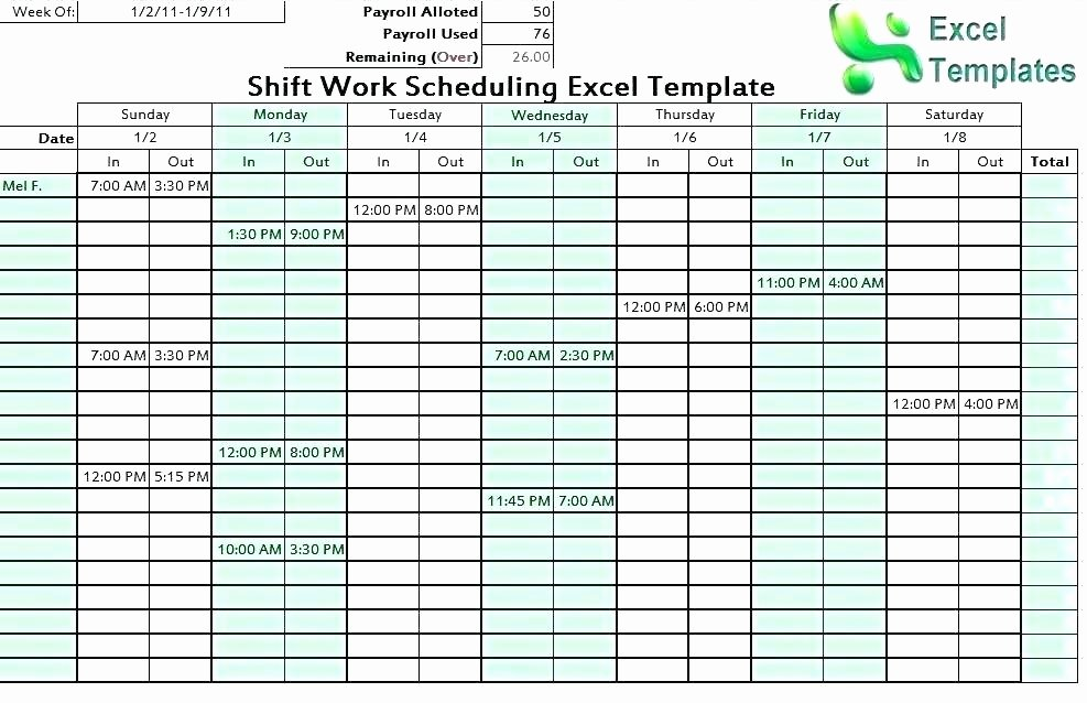 7 Day Work Schedule Template Lovely 24 Hour Shift Schedule Template – Psychicnights
