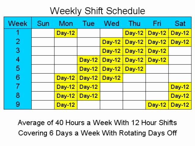 7 Day Work Schedule Template Unique 12 Hour Shift Quotes Quotesgram