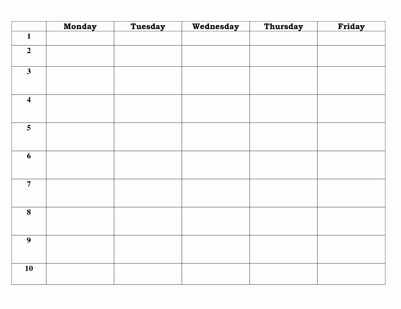 7 Day Work Schedule Template Unique 7 Best Of 5 Day Work Week Monthly Calendar