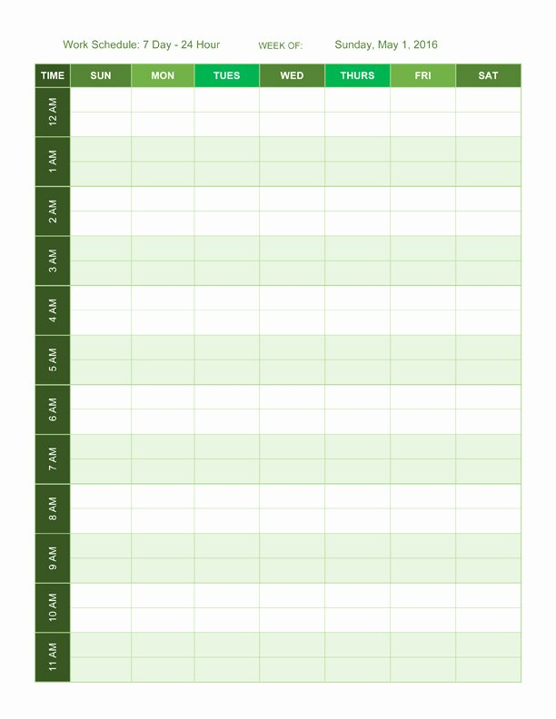 7 Day Work Schedule Template Unique Free Work Schedule Templates for Word and Excel