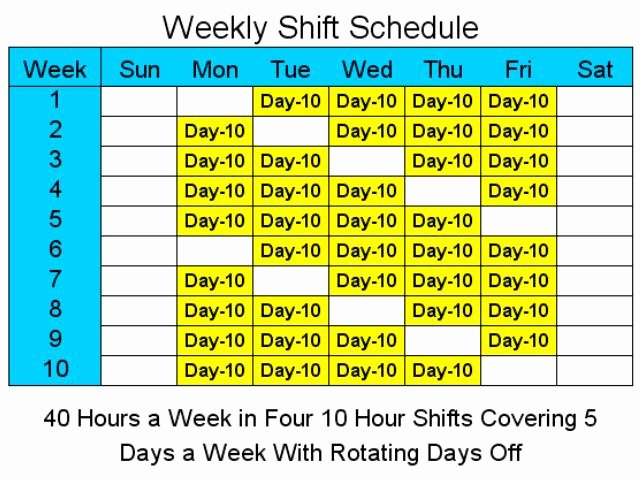8 Hour Shift Schedule Template Beautiful 10 Hour Schedules for 5 Days A Week 1 2 Free Download