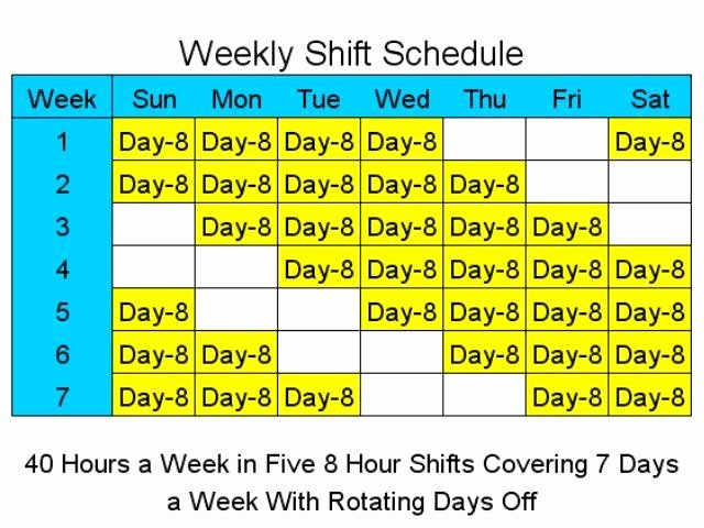 8 Hour Shift Schedule Template Elegant 8 Hour Shift Schedules for 7 Days A Week